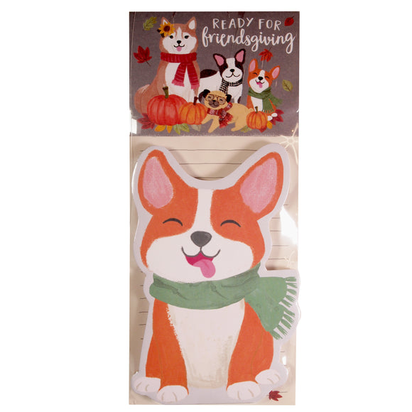 Doggy Notepad : Ready For Friendsgiving - Fall themed note paper - corgi - LEAGUE OF CRAFTY CANINES