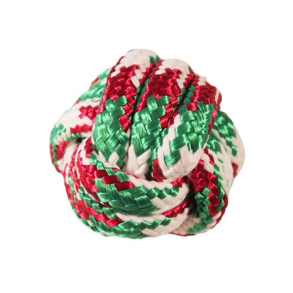 Christmas-themed Dog Toy : Shiny Red and Green Knotted Ball - LEAGUE OF CRAFTY CANINES