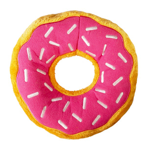 Jumbo Size Christmas Holiday Donut - (zippy paws) Dog Toy : yellow/pink with white sprinkles - LEAGUE OF CRAFTY CANINES
