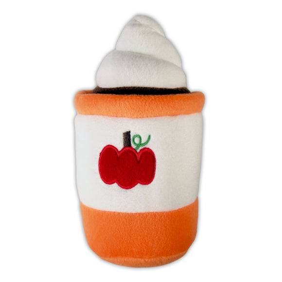 Pumpkin Spice Latte Dog Toy (zippy paws) : light orange & white - squeaker - LEAGUE OF CRAFTY CANINES