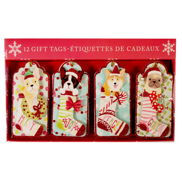 3D Christmas Holiday Gift Tags : set of 12 - molly & rex - LEAGUE OF CRAFTY CANINES