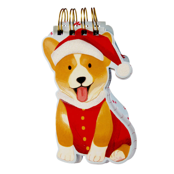 Santa Corgi Christmas Notepad (molly & rex) - 100 lined-sheet pages - LEAGUE OF CRAFTY CANINES