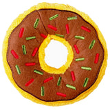 Christmas Holiday Donut Dog Toy : large - yellow/brown with red + green sprinkles - LEAGUE OF CRAFTY CANINES