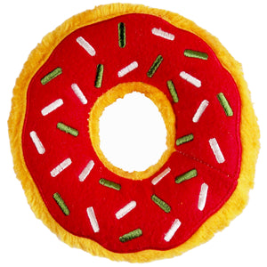 Christmas Holiday Donut Dog Toy : large - yellow/red with white + green sprinkles - LEAGUE OF CRAFTY CANINES