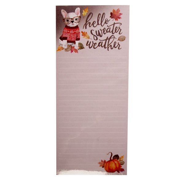 Doggy Notepad : Hello Sweater Weather - Fall themed note paper - french bulldog - LEAGUE OF CRAFTY CANINES
