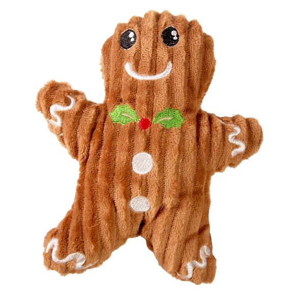 Christmas Dog Toy : Plush Gingerbread Man - with squeaker  - - LEAGUE OF CRAFTY CANINES
