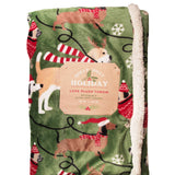 Holly Jolly Holiday Christmas Blanket with Dogs - 50 x 60 - ultra soft sherpa - reversible - LEAGUE OF CRAFTY CANINES