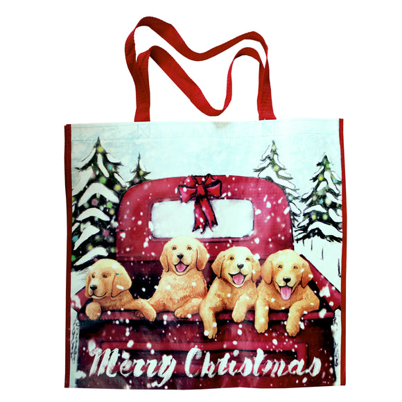 Reusable Eco Friendly Christmas Shopping/Gift Bag - Puppies in a Pick-Up - LEAGUE OF CRAFTY CANINES