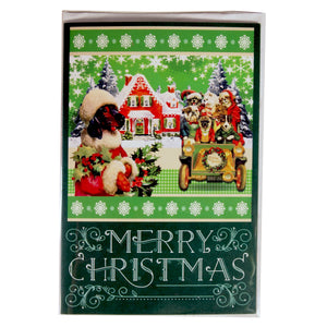 Christmas Holiday Card : Santa Doxie and his Doggie Pals - green greeting card - LEAGUE OF CRAFTY CANINES