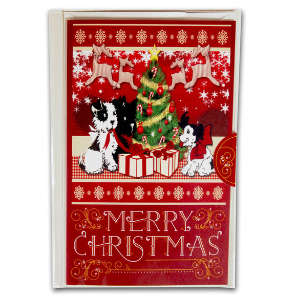 Christmas Holiday Card : Puppy's First Christmas - red greeting card - LEAGUE OF CRAFTY CANINES