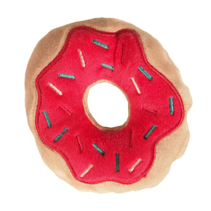 Christmas Holiday Donut Dog Toy : small - tan/pink with red, white and blue sprinkles - LEAGUE OF CRAFTY CANINES