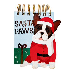 Santa Paws (Boston Terrier) Christmas Notepad : (molly & rex) - 100 lined-sheet pages - LEAGUE OF CRAFTY CANINES