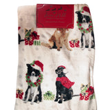 Fern Hill Blanket : Dogs with Gifts Christmas Throw - 50 x 60 - reversible - LEAGUE OF CRAFTY CANINES