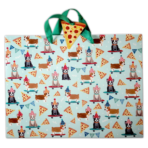 Molly + Rex : Pizza & Puppies Gift Bag -  medium -  birthday holiday celebration - LEAGUE OF CRAFTY CANINES