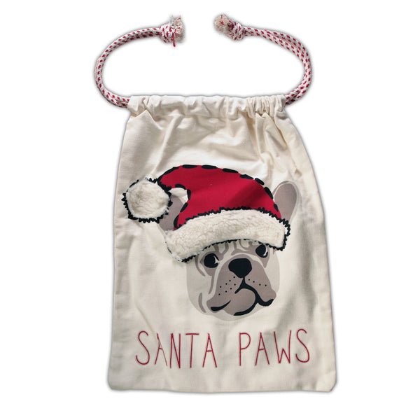 Christmas | Santa's Gift Sack (Bag) | Santa Paws with Bulldog - LEAGUE OF CRAFTY CANINES