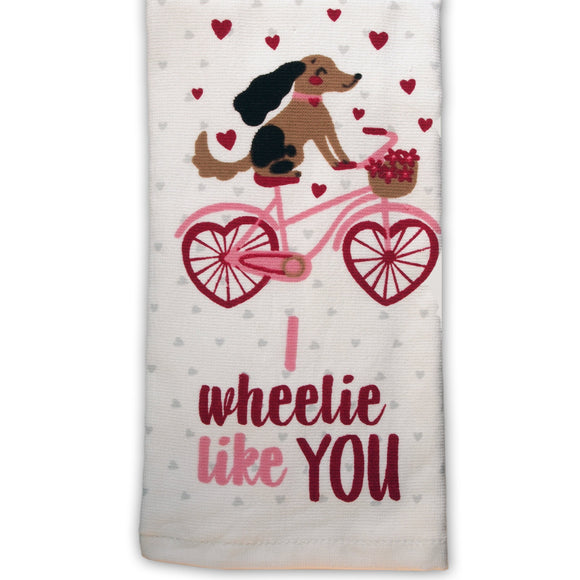 Dog Tea Towel  : I Wheelie Like You (Bicycle Dog) -  Kitchen Towel - LEAGUE OF CRAFTY CANINES