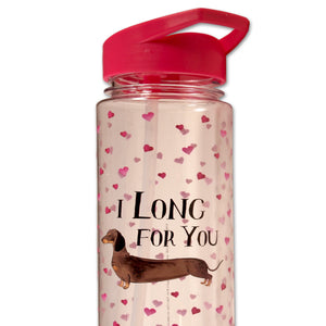 Milly Green : I Long For You Dachshund Clear Water Bottle - BPA Free - LEAGUE OF CRAFTY CANINES
