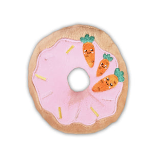 Easter Holiday Donut Dog Toy : small - pink/tan with carrots and sprinkles - LEAGUE OF CRAFTY CANINES