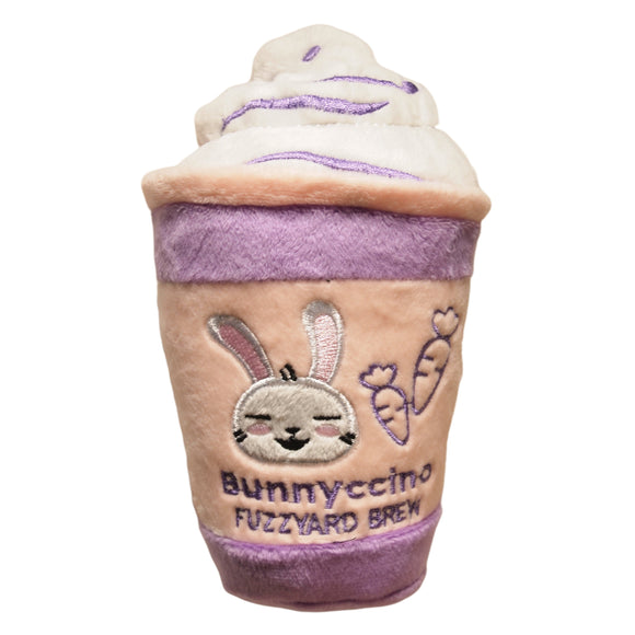 Easter Bunnyccino plush dog toy - fuzzyard brew plaything