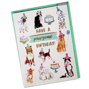 Birthday Card for Dogs : Have A Pawsome Birthday - dog party - LEAGUE OF CRAFTY CANINES