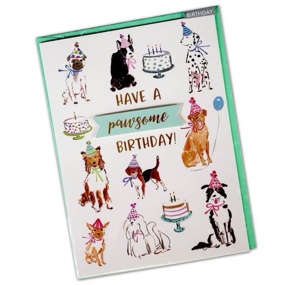 Birthday Card for Dogs : Have A Pawsome Birthday - dog party