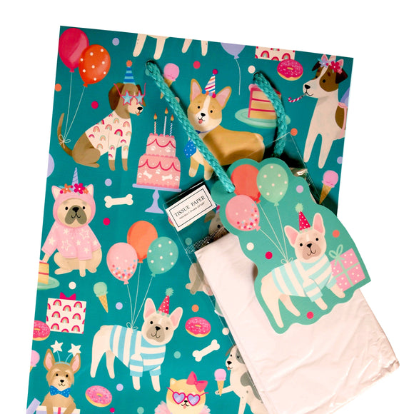 Clementine Paper Inc. : Cake, Dogs and Balloons Gift Bag -  small bag inc. gift tag and tissue - LEAGUE OF CRAFTY CANINES
