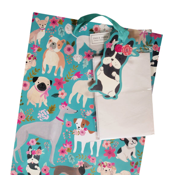 Clementine Paper Inc. : Dogs and Flowers Gift Bag -  small bag inc. gift tag and tissue - LEAGUE OF CRAFTY CANINES