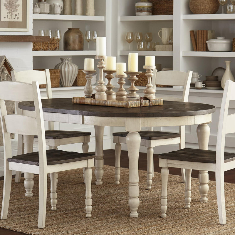 Madison Country Vintage White Oval Dining - Lifestyle Furniture