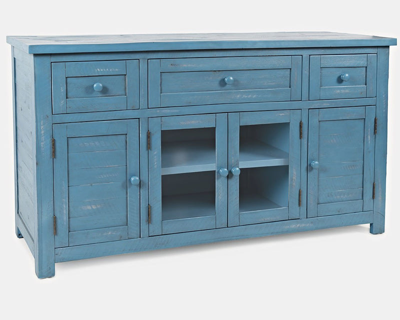American Folklore Media Console - Blue - Lifestyle Furniture