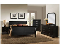 Louis Philippe Sleigh Bed in  Black - Lifestyle Furniture