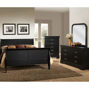 Louis Philippe Sleigh Bed in  Black