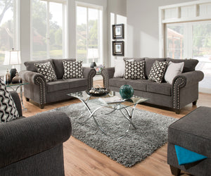 Reed Charcoal Sofa and Loveseat Set