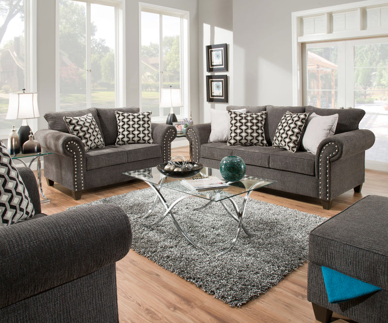 Reed Charcoal Sofa and Loveseat Set - Lifestyle Furniture