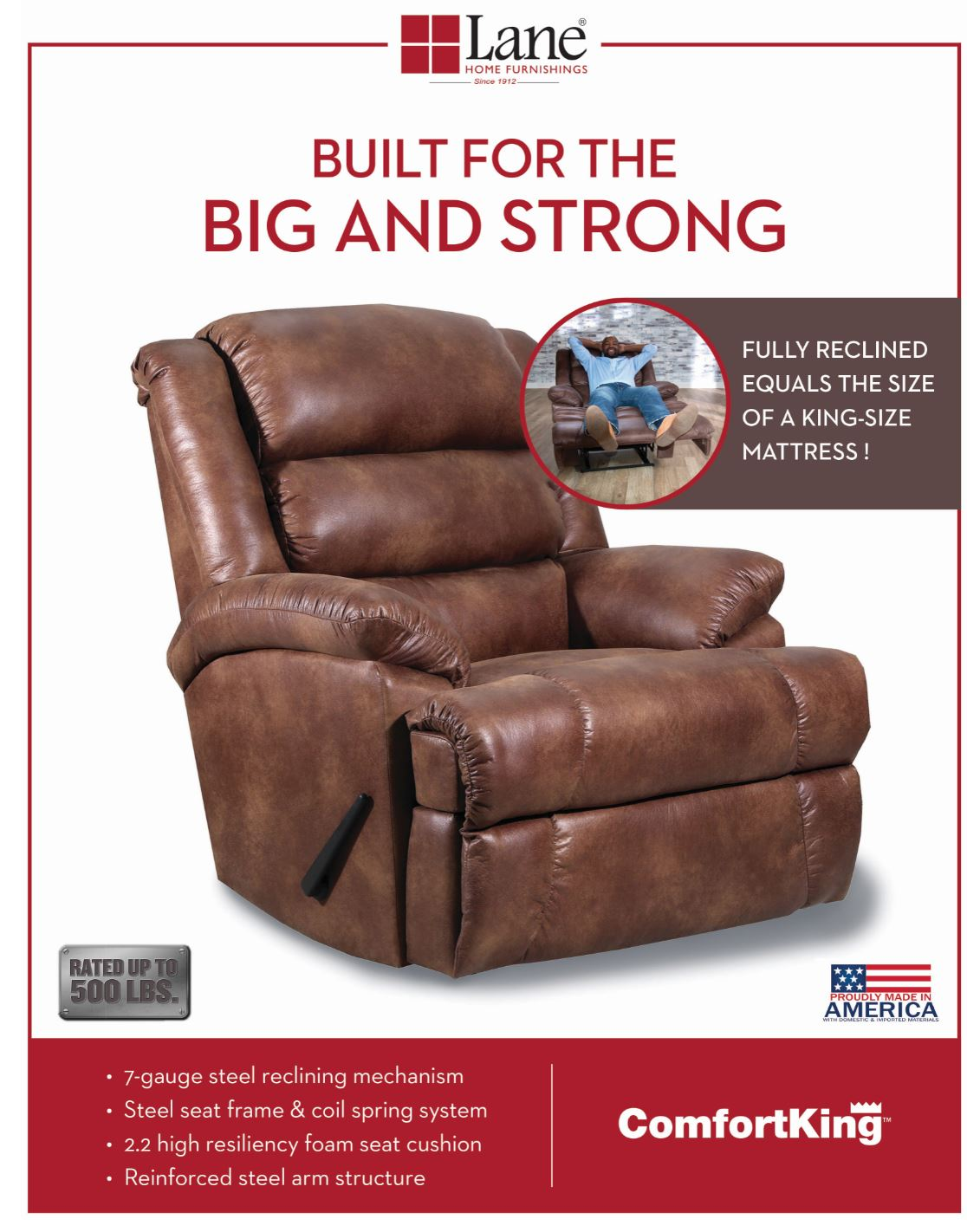 Lane Home Furnishings 6511P Hi Leg Power Recliner Tijuana Canyon - Lifestyle Furniture