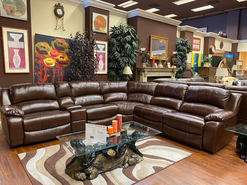 Lauren Leather Sectional - Lifestyle Furniture