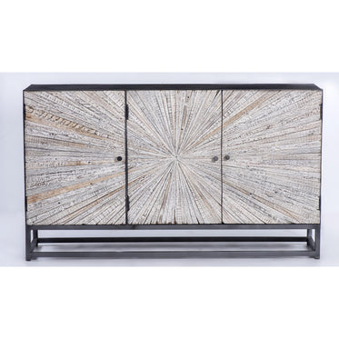 Astral Plains Reclaimed 3 Door Accent Cabinet - Grey Wash - Lifestyle Furniture