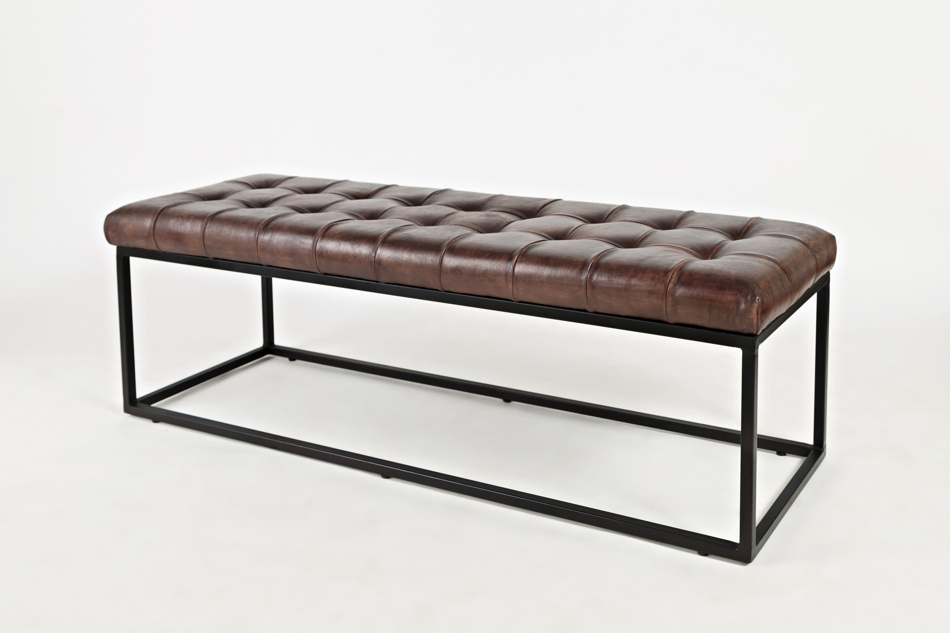 Handmade Leather Ottoman with Modern Base - Industrial Brown - Lifestyle Furniture