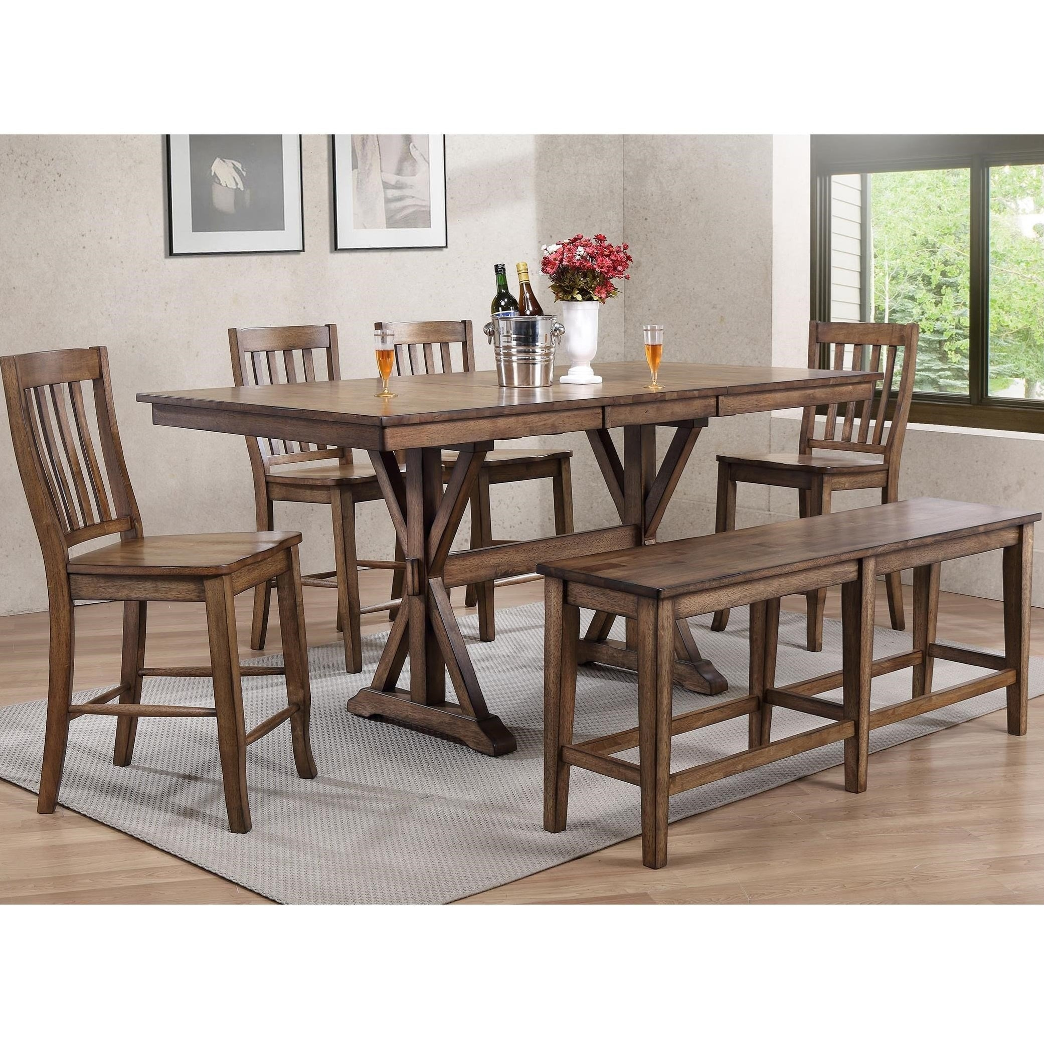 Oakhurst Counter Height Trestle Dining Set - Lifestyle Furniture