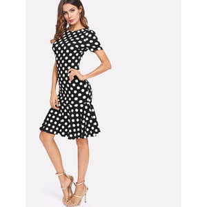 Polka Dot Ruffle Hem Dress