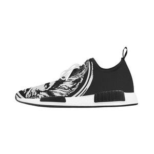 Womens black and White Lion Lace  up Trainers