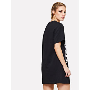 Short Sleeve Graphic Tee Dress