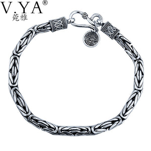 VYA 100% Real S925 Solid Silver Bracelets for Men Jewelry 925 Sterling Silver Chain Women Bracelet HYB04