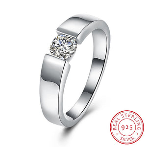 925 Sterling Silver Ring Bian Jie Style with single CZ Stone