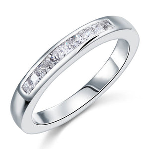 Simulated Diamond Princess Cut Sterling 925 Silver Ring