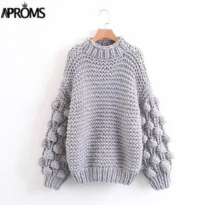 Handmade Knitted Oversize Pullover Sweater Lantern Sleeves