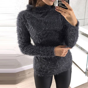 ZANZEA 2018 Winter Leisure Turtleneck Long Sleeve  Plush Fluffy Jumper Knit Pullover Women Fashion Solid Slim Fit Party Sweaters