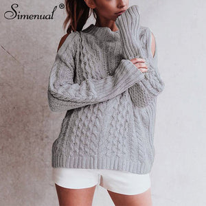 fisherman open shoulder sweater