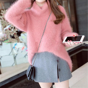 MCCKLE Women Faux Mink Cashmere Sweater 2018 Winter Turtleneck Solid Loose Knitted Pullovers Women Fashion Long Sweaters Jumper