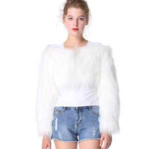 Saimishi Long Sleeve Poncho Cardigan Winter Women Elegant Off Shoulder Fur Short Cape Jacket Outwears Faux Fur Coat