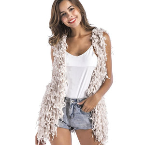 Saimishi Jacket Women Waistcoat Fluffy Tassels Faux Fur Sleeveless Sexy Fashion Outwears Clothing Shrug Coat Cardigan